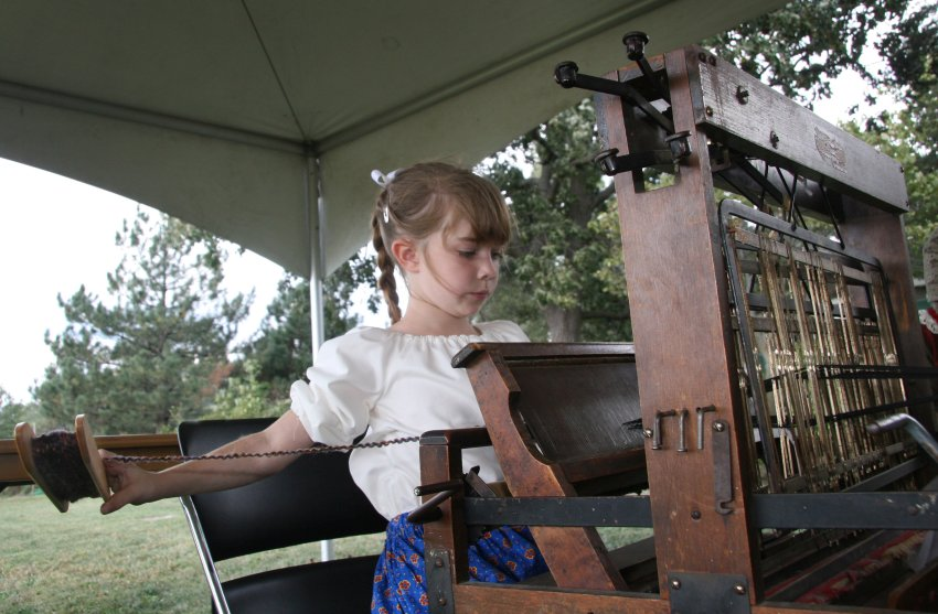 Young girl at loom