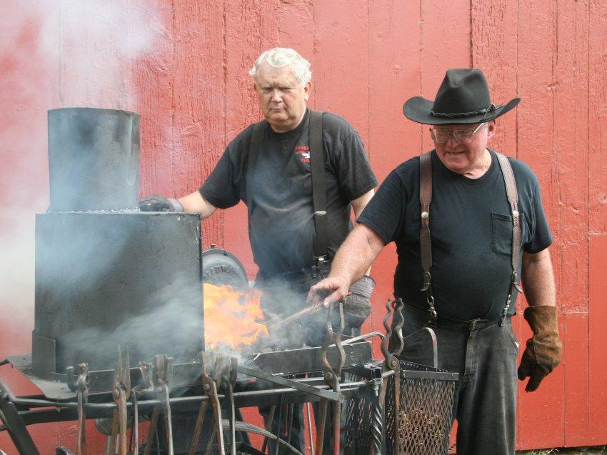 Blacksmith David Edwards at forge