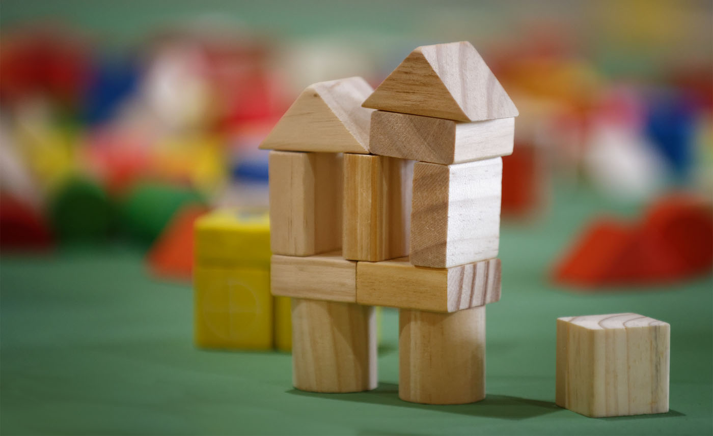 Building blocks in the children's area